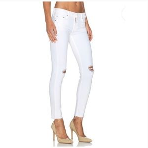 Mother Looker Ankle Fray Distressed Jeans in White
